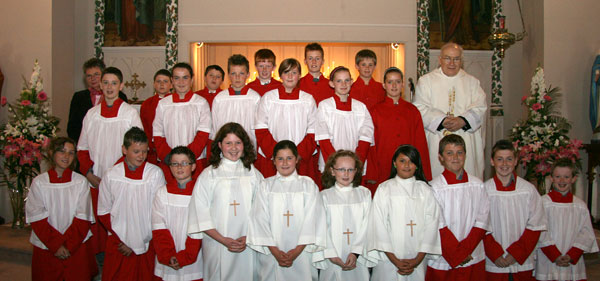 with church servers and Kathleen Condron