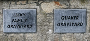 Lecky and Quaker Graveyars signs